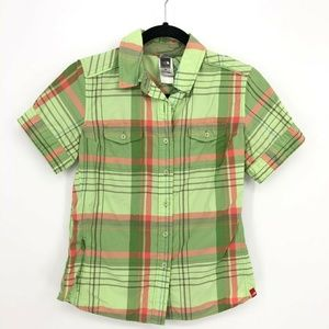 The North Face Plaid 100%Nylon S/S Button Up Shirt